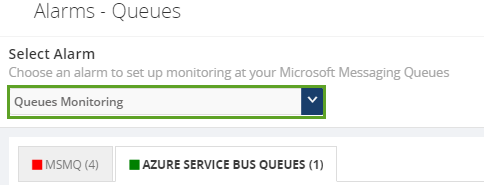 azure service bus queues monitoring alarms