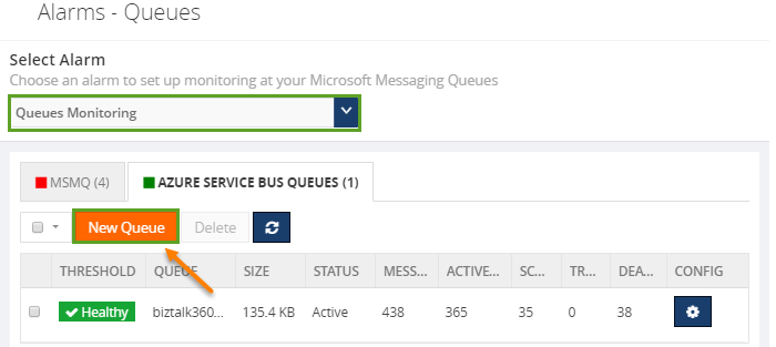 add new queue to biztalk360 queue monitoring list