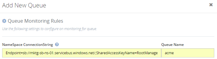 namaspace connection spring details in biztalk360 queues monitoring
