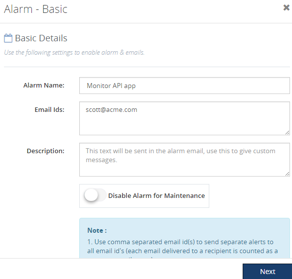 threshold alarm for api apps in biztalk360
