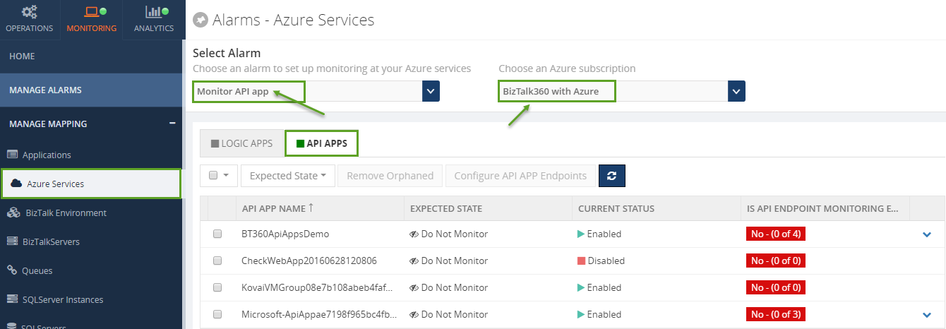 monitoring azure services for biztalk server in biztalk360