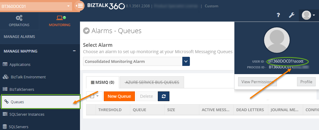 msmq monitoring access for biztalk360 normal user