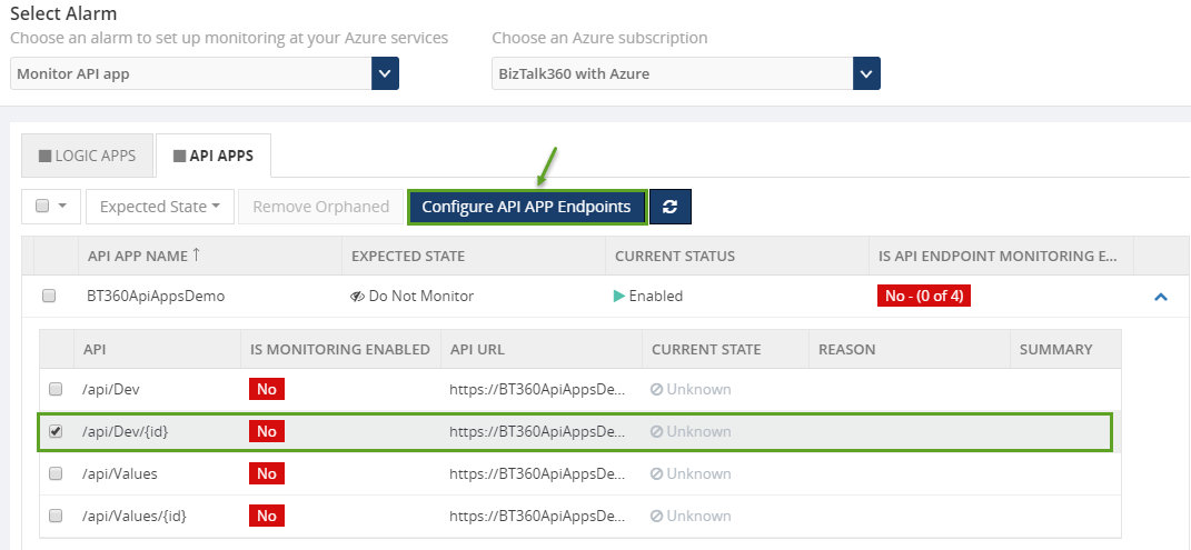 configure api apps endpoints alarm in biztalk360