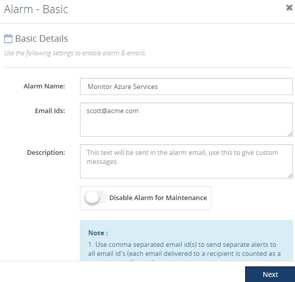 Biztalk360 alarm basic details