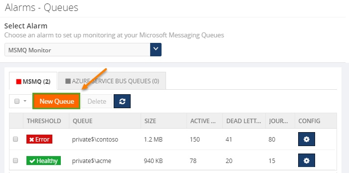 adding new queues for monitoring microsoft messaging queues