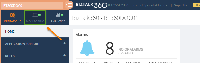 biztalk360 monitoring dashboard for a super user