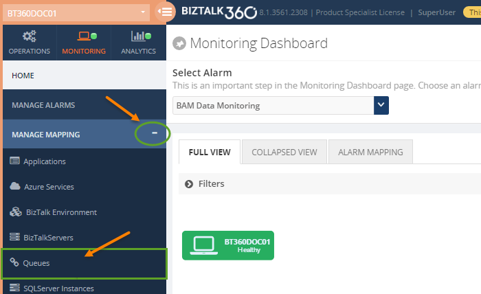 monitoring microsoft messaging queues status in biztalk360