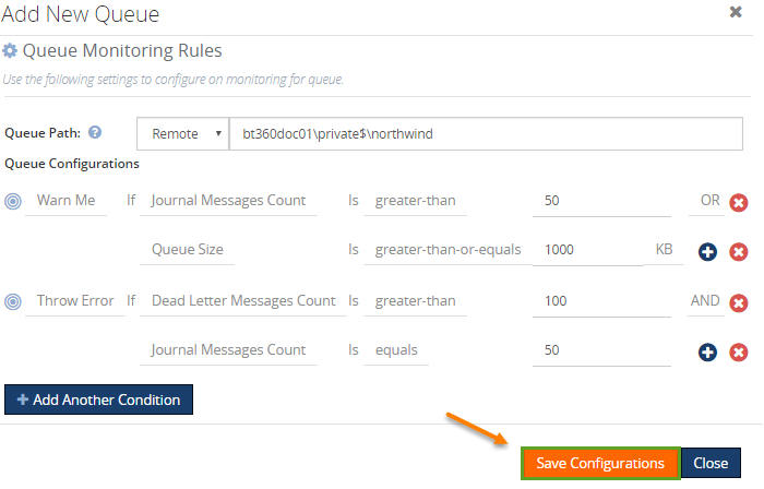 queue configuration steps in biztalk360