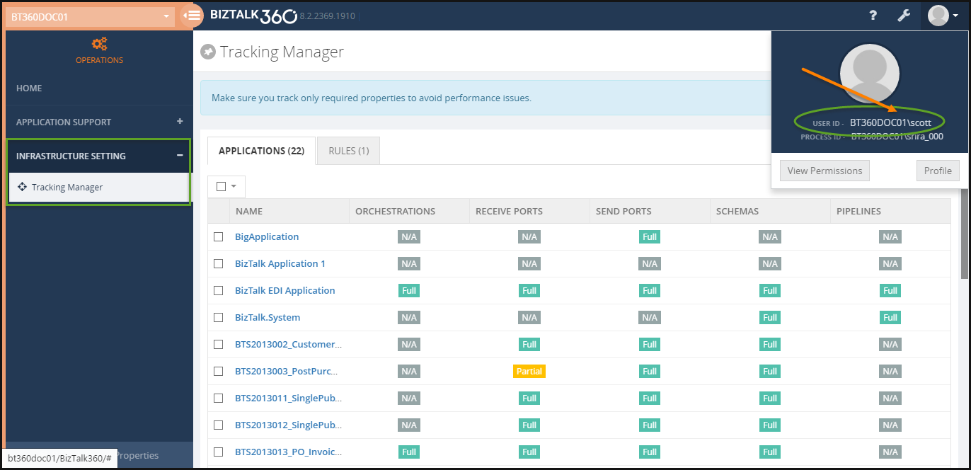 biztalk360 tracking manager for normal users