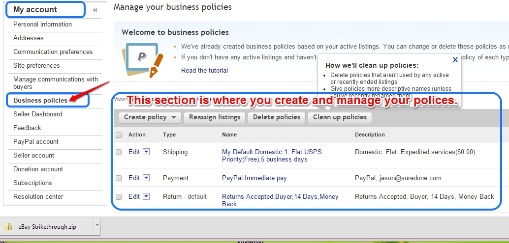 How To Set Ebay Shipping Payment And Return Policies To Create A Suredone Profile Support