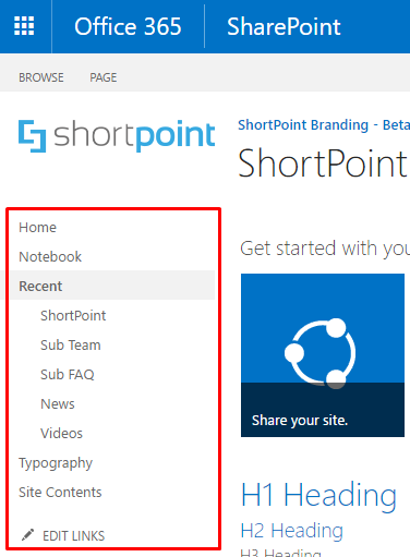 Hide Current Navigation in Office365 & SharePoint Sites