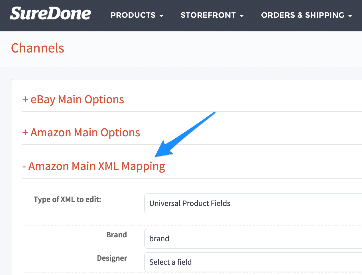 Go To Settings Channels Amazon XML Mapping