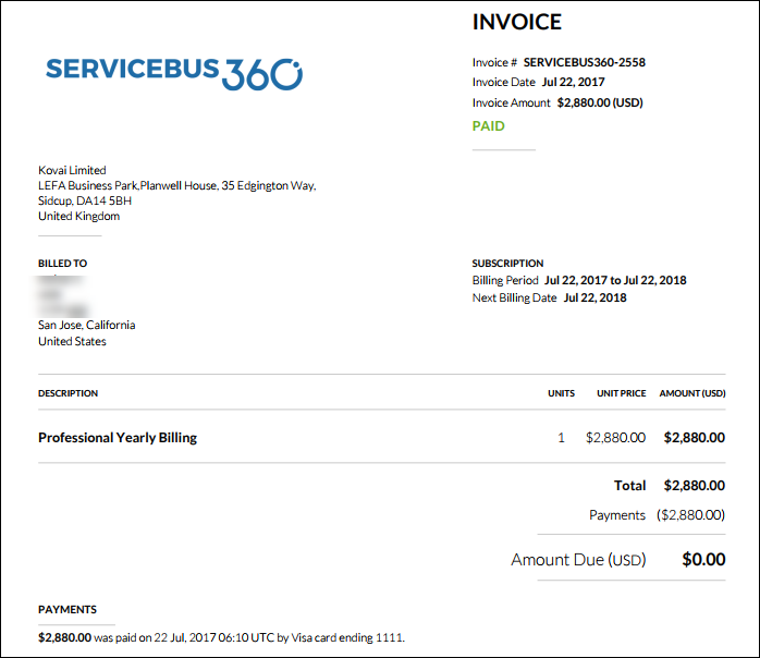 Invoice Generator Uk Payments In Servicebus  Servicebus Support Portal Invoice Maker Online Free Excel with Pay Paypal Invoice With Credit Card Excel A Sample View Of The Invoice And Purchase Details What Is Invoice Processing Pdf
