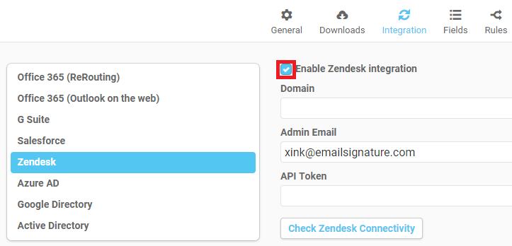 Email Signature Platform - Zendesk Integration : EmaiI