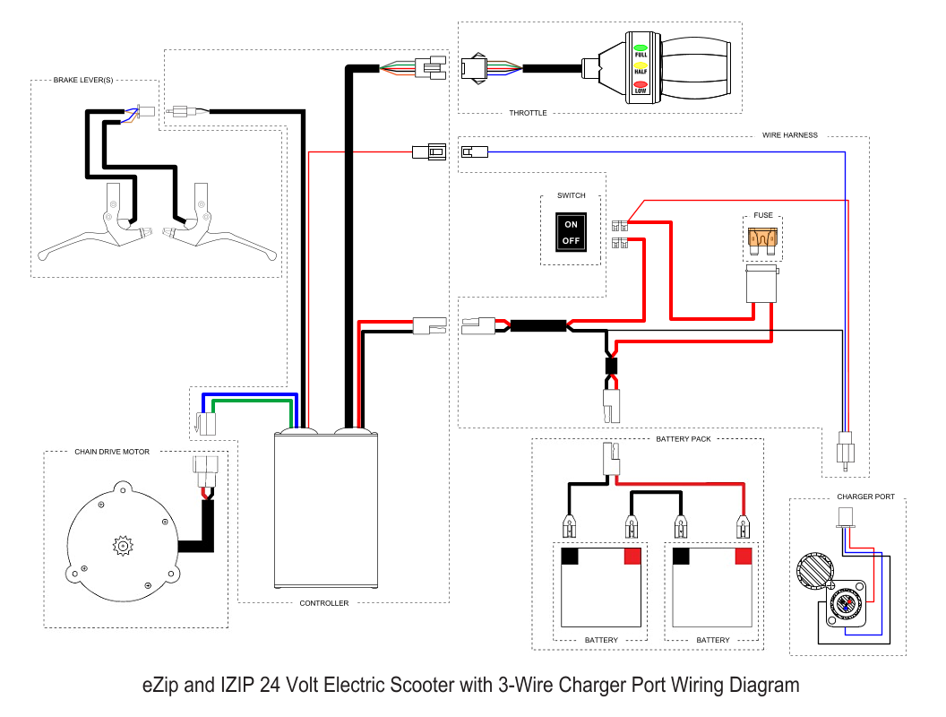 Wiring Diagram For A Electric Scooter : Ezip electric scooter wiring diagram needed