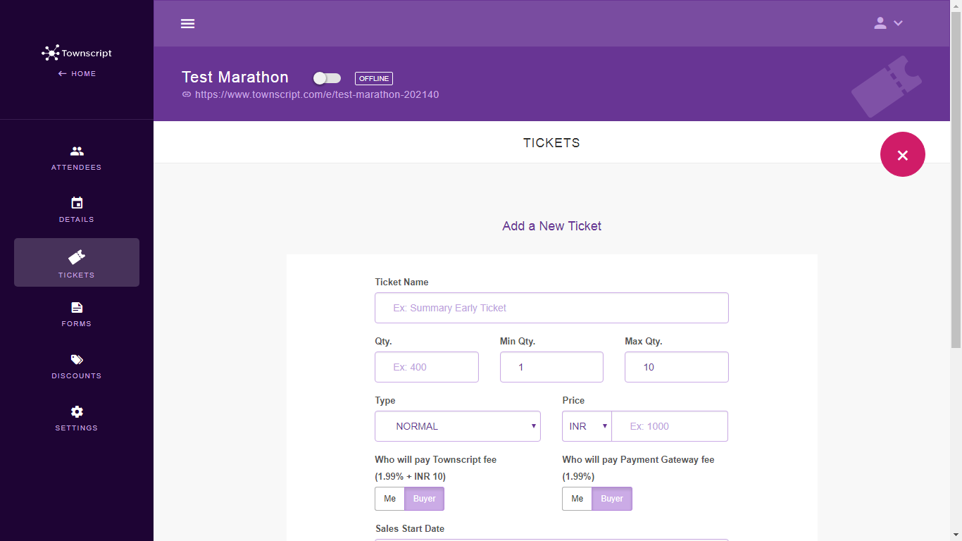 how to create tickets for an event