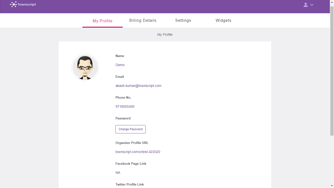 How to change your Townscript account password ? : Townscript