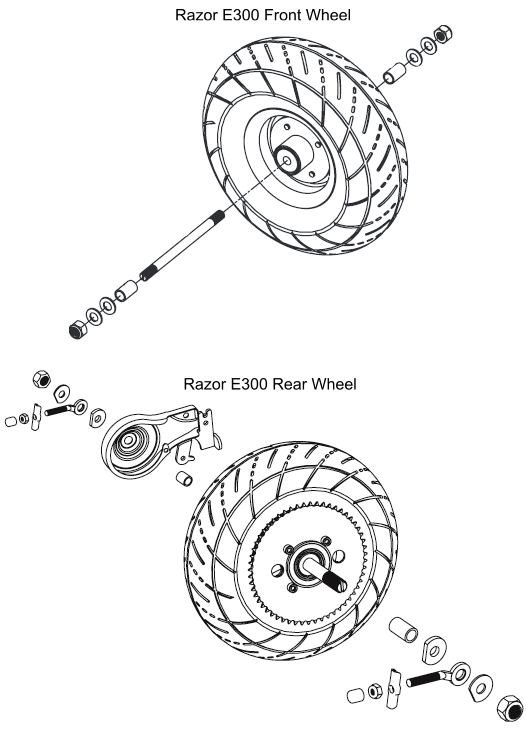 Razor E300 Rear Wheel Assembly Help Electricscooterparts Com Support
