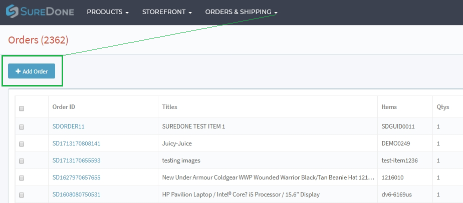 Adding Manual Orders Through the User Interface : Support