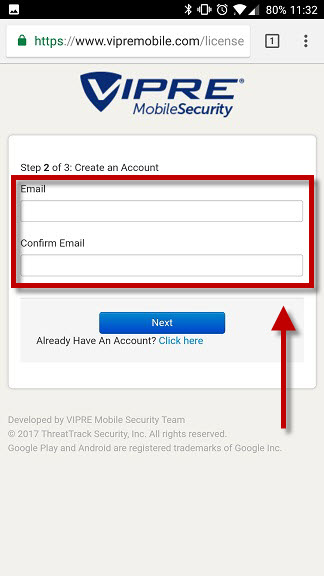607a71a933 5) Choose and enter a password for your VIPRE Mobile Account into the box  and then tap Next