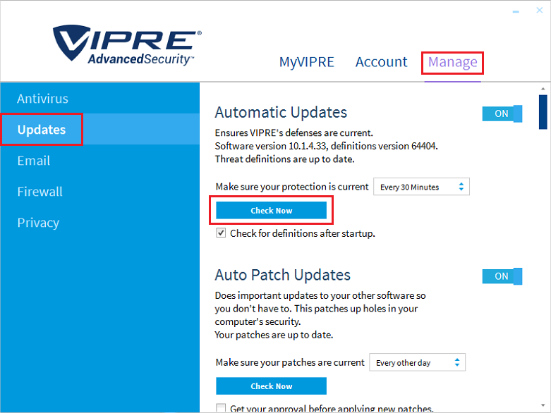 How to change the definitions download frequency: vipre antivirus.