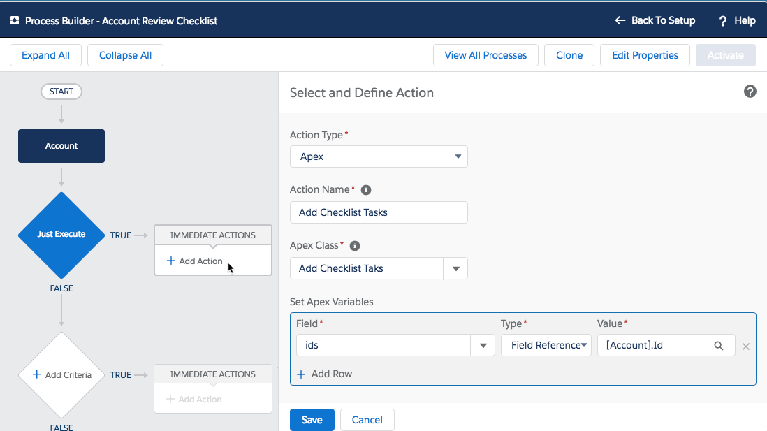 Process Builder Add Action
