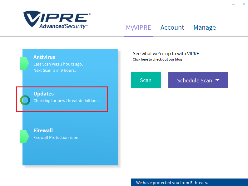 A problem has occurred in vipre threat scanner: vipre antivirus.
