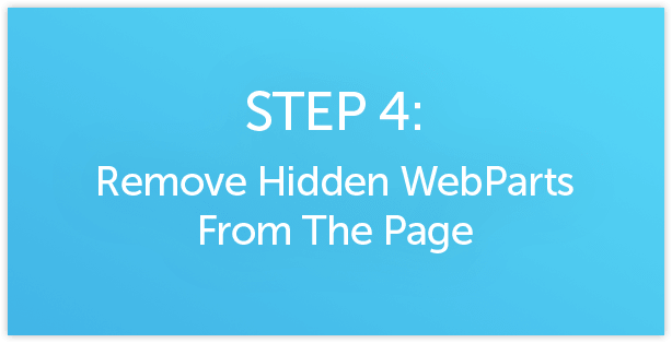 Remove Hidden WebParts from SharePoint page