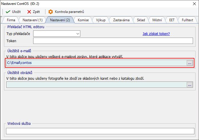 Nastavení cesty k úložišti e-mailových zpráv