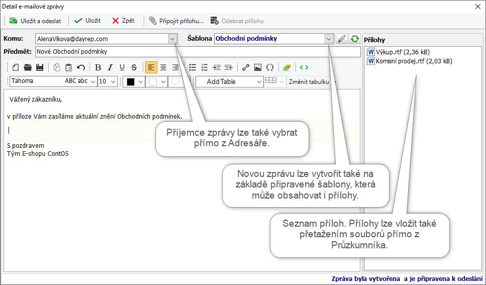 Detail zprávy a možnosti editace