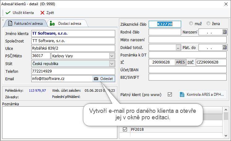 Vytvoření nové e-mailové zprávy na detailu klienta