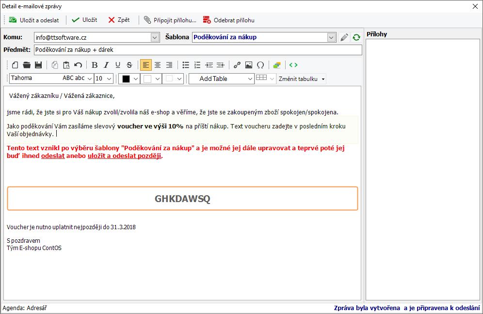 Dialog pro editaci e-mailu. Vytvoření zprávy pomocí šablony.