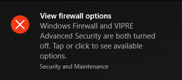 How to disable firewall notifications in windows 10 1809