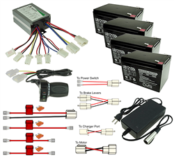 this kit is electronically 100% plug-and-play however it does require  custom installation of the controller and batteries