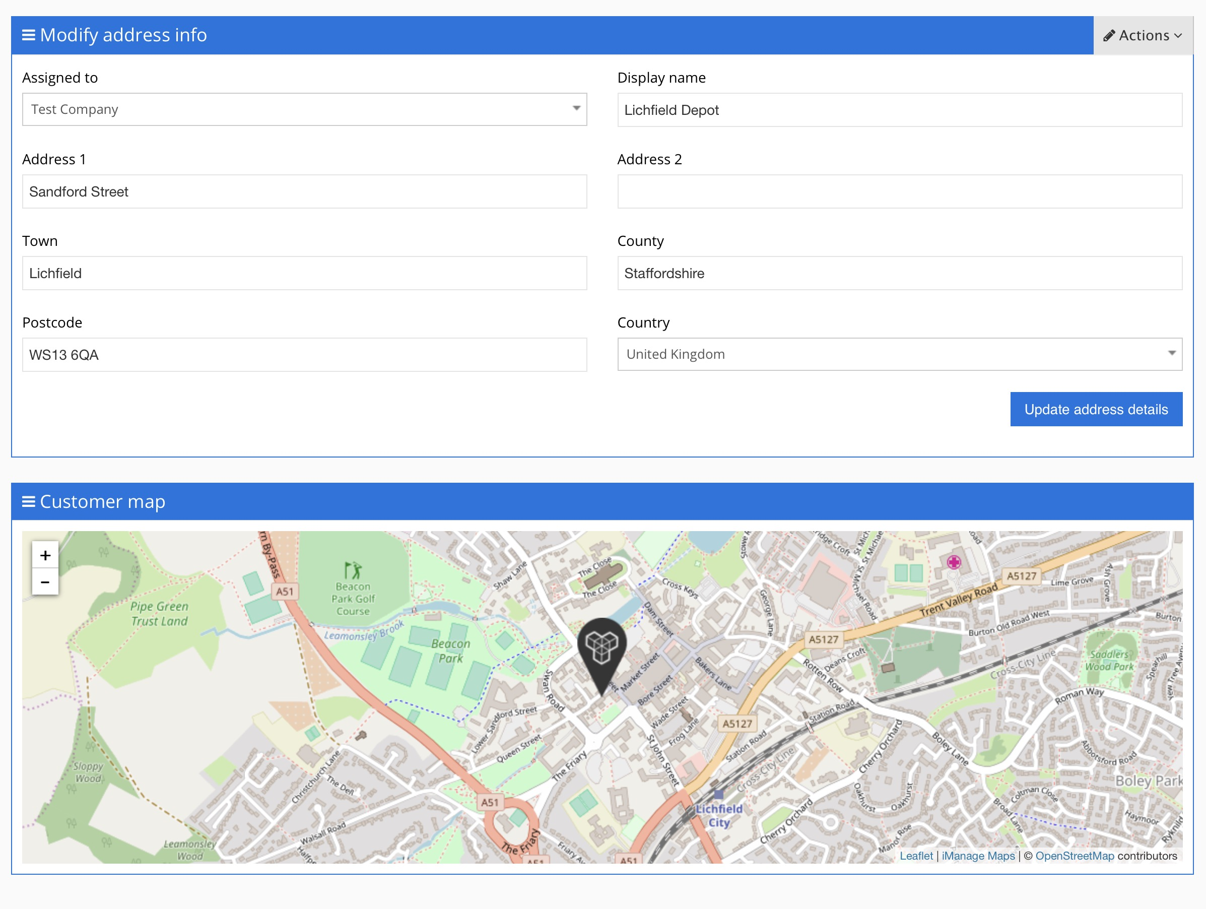 Add multiple addresses / depots / sites to a customer : iManage on
