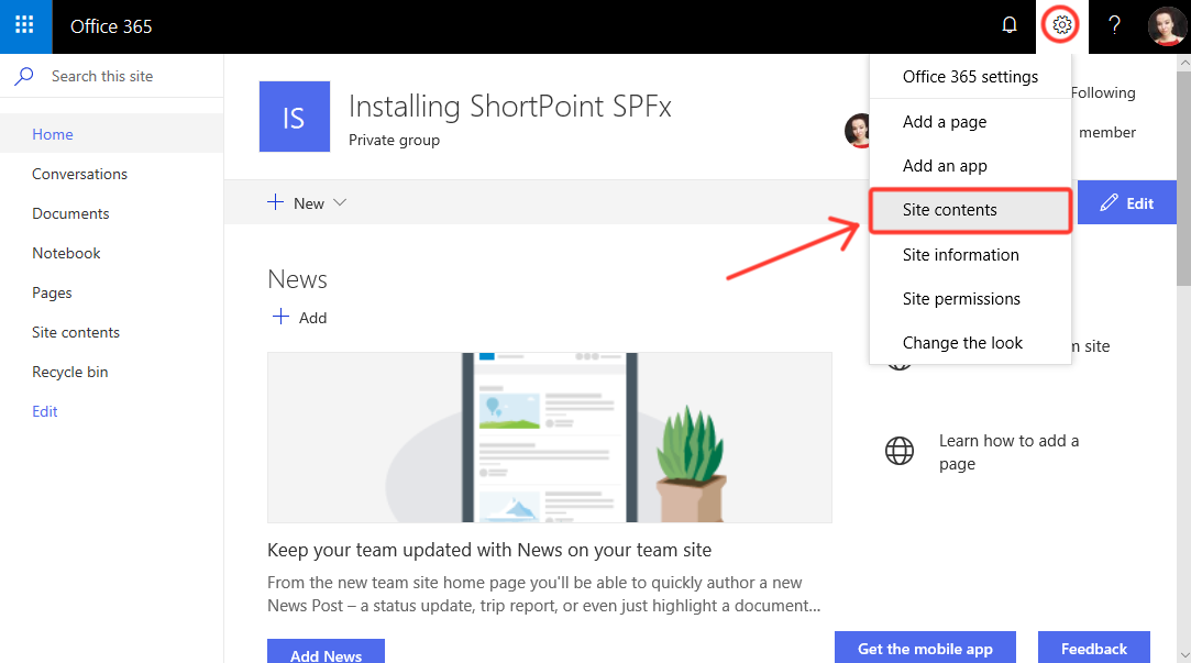 Open the site contents of the SharePoint site