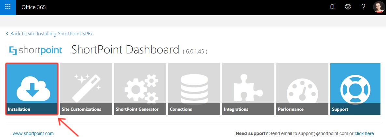 Click Installation in ShortPoint Dashboard