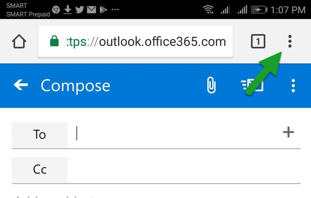How to request Desktop Site mode when accessing Outlook on the web