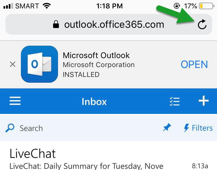 How to request Desktop Site mode when accessing Outlook on