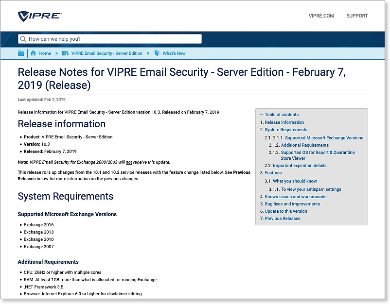Patch/Fix/Release] VIPRE Email Security - Server Edition 10 3 : Support