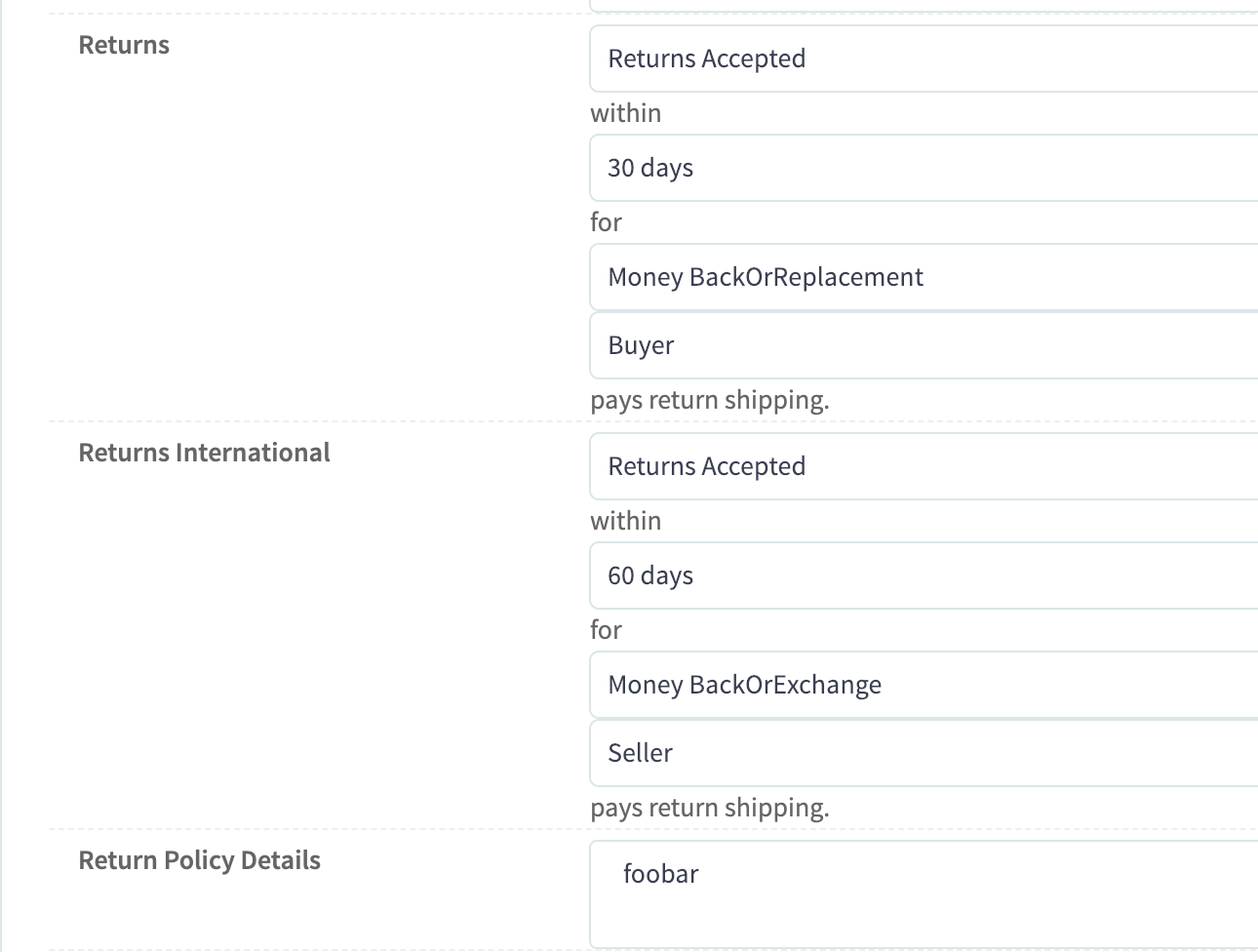 eBay international returns default setting