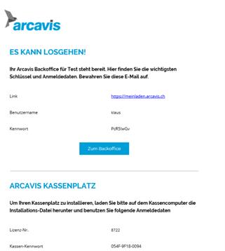 Mail mit Zugangsdaten zu Arcavis