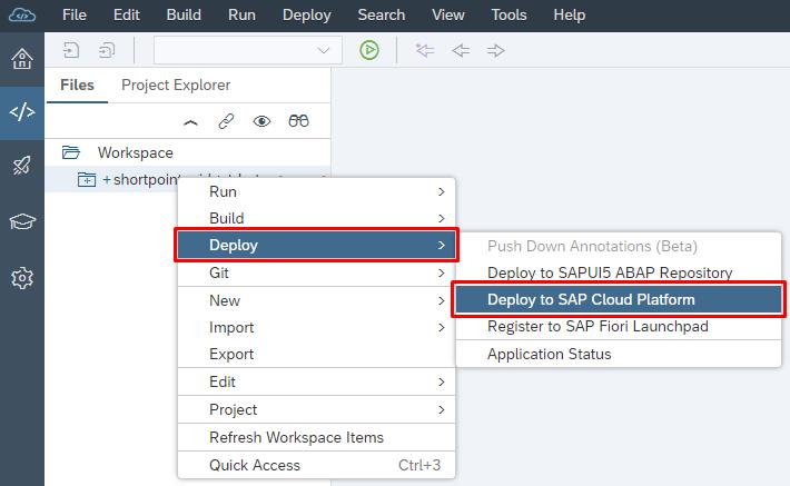 Deploy ShortPoint Widget Beta into SAP HANA Cloud Portal for the
