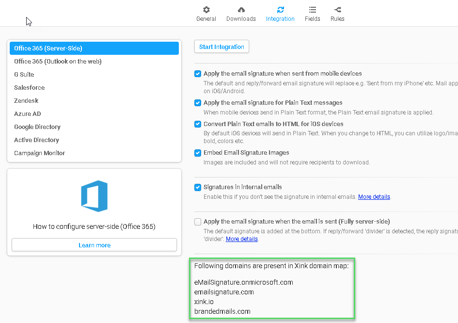 Configure Server-Side using the Web Console (Office 365