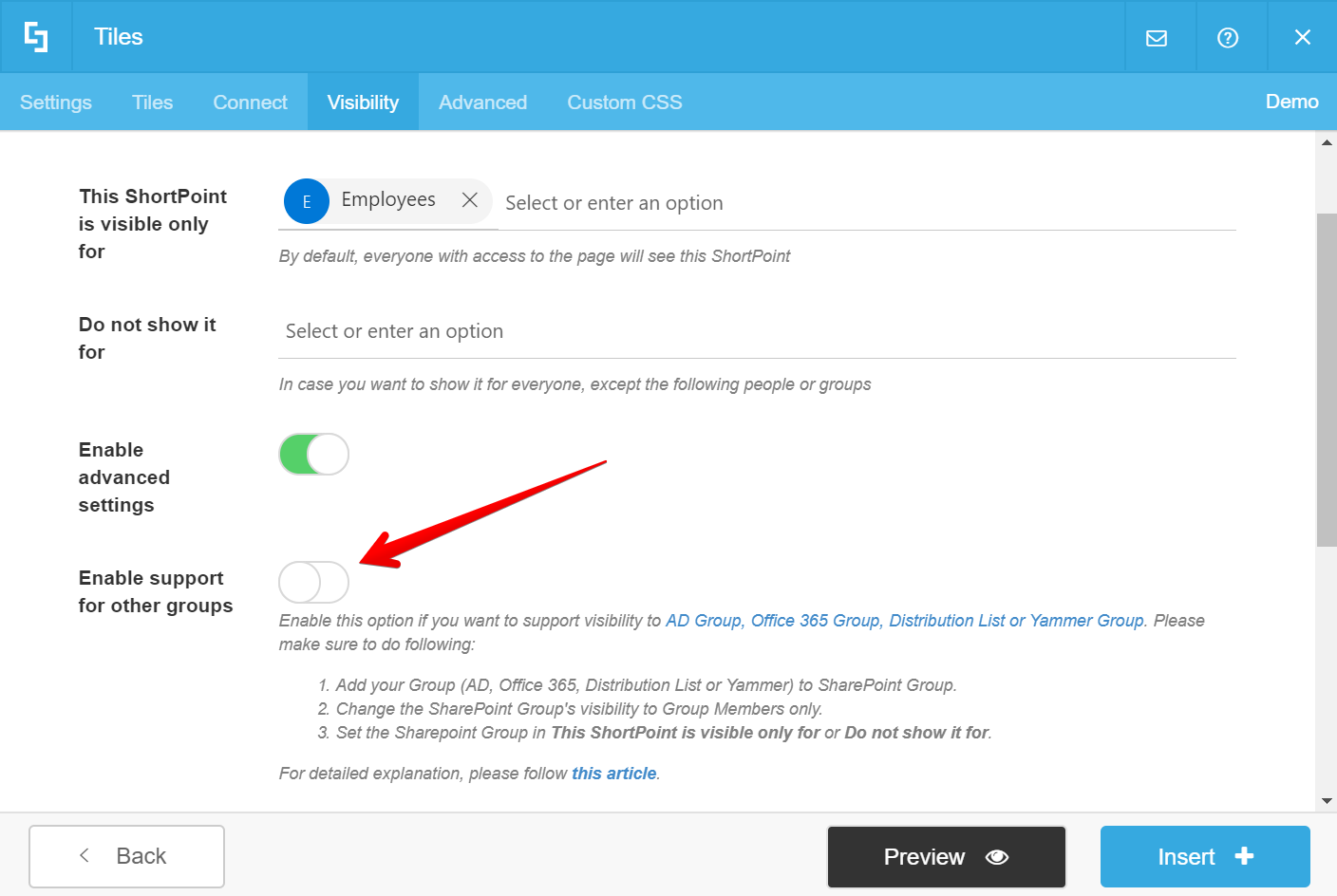 How to Set ShortPoint Element Visibility to Active Directory