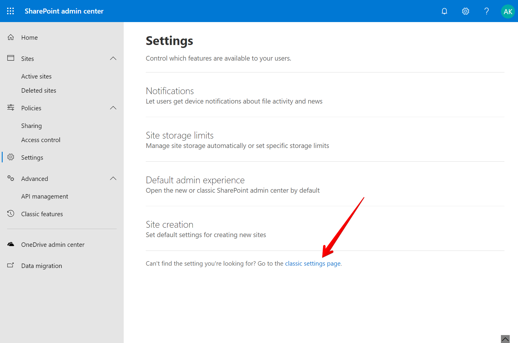 Click classic settings page