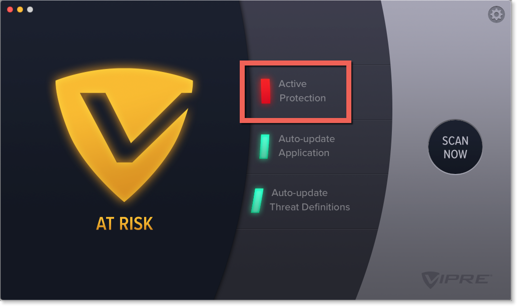 "Active Protection is blinking red and VIPRE's status is ""AT RISK""."