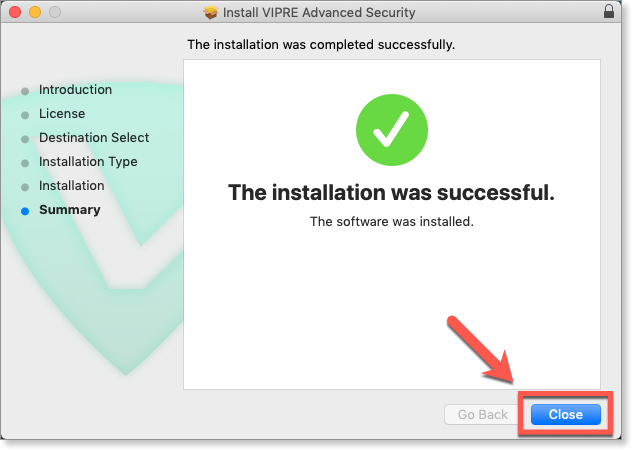 "The installer will copy the application to your Hard Disk. After a few more seconds, you will see ""The installation was successful"". Click Close to finish"