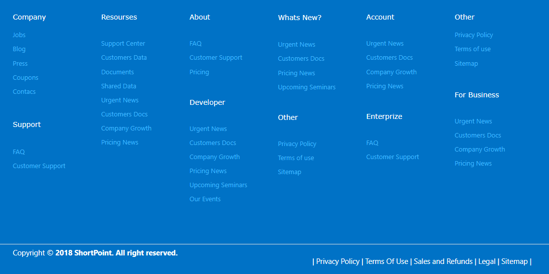 , 11 Footer Designs for SharePoint Sites, ShortPoint