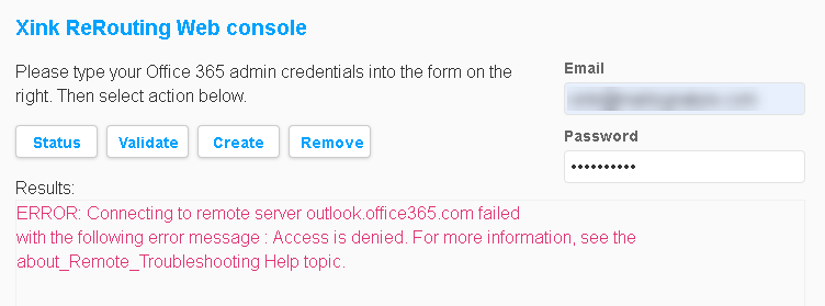 IT PRO: Access Denied Error when configuring Office 365